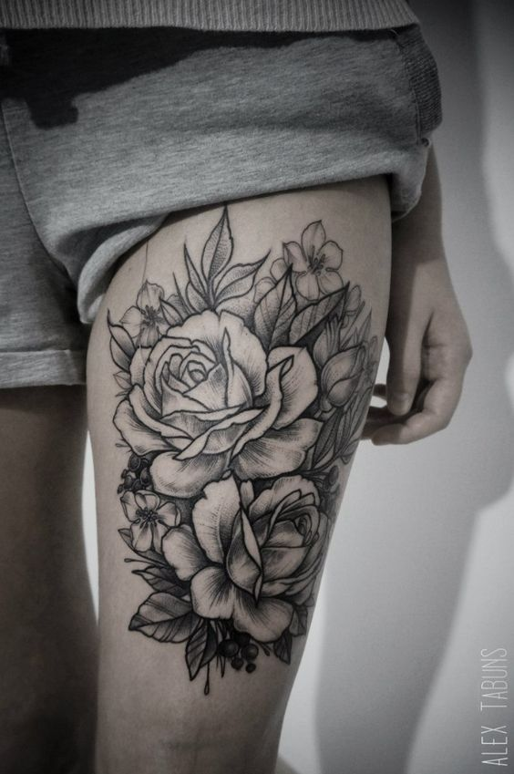 Lovely Roses Thigh Tattoo Amazing Tattoo Ideas