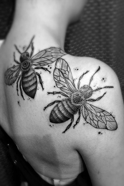 Realistic Honey Bees Back Tattoo