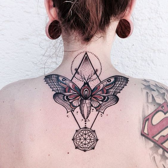 Sophisticated Moth Back Tattoo