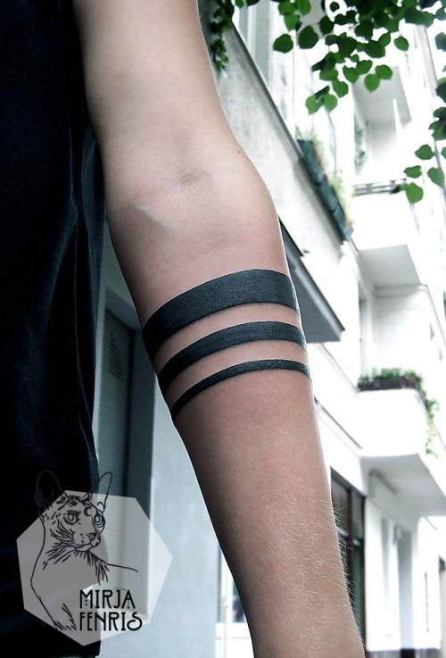 Triple Graded Lines Arm Band Tattoo