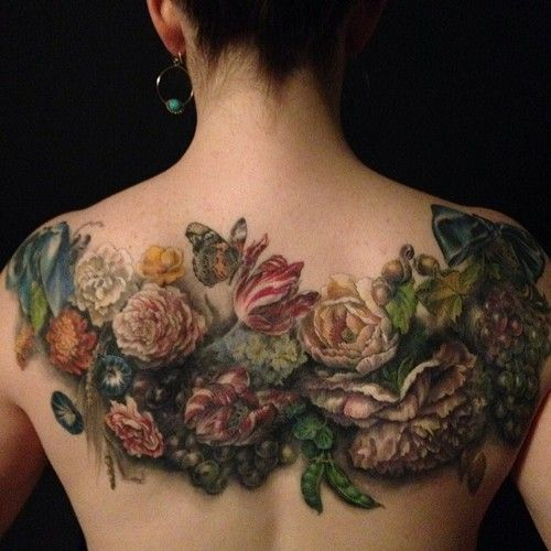 Vintage Bouquet Back Tattoo