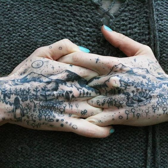Connecting Landscape Hand Tattoos