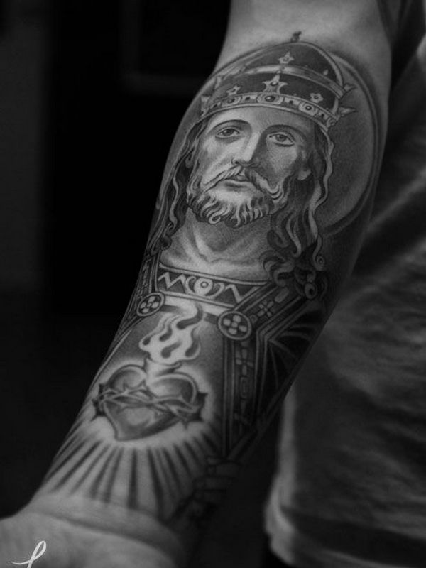 Crowned Jesus Forearm Tattoo