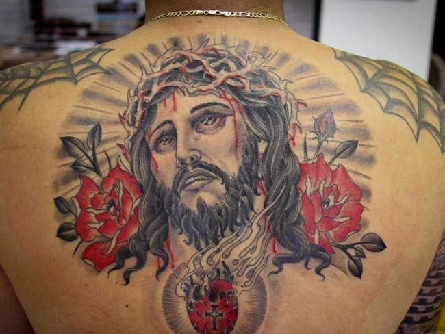 Floral Jesus Back Tattoo | Amazing Tattoo Ideas