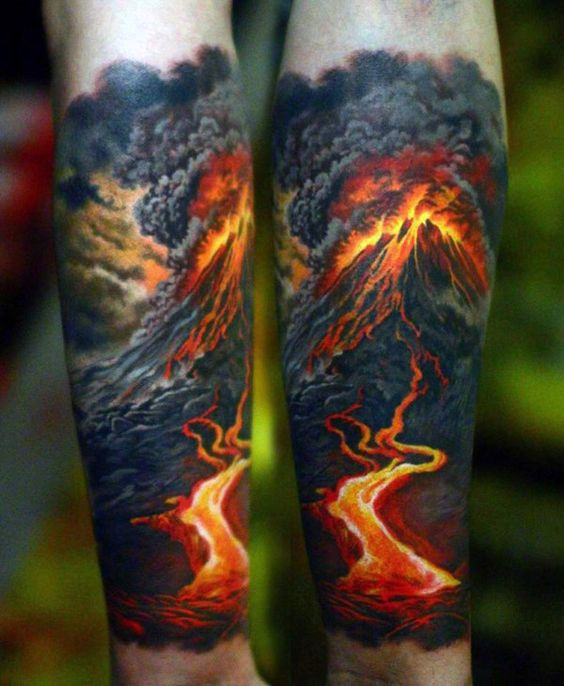 Volcanic Activity Forearm Tattoo