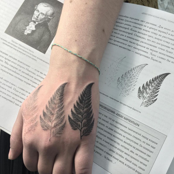Amazing Dotwork Ferns Hand Tattoo