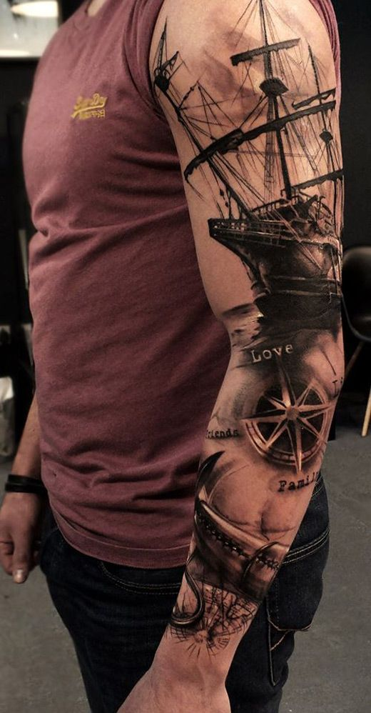 40 picturesque ship tattoo designs amazing tattoo ideas. Black Bedroom Furniture Sets. Home Design Ideas