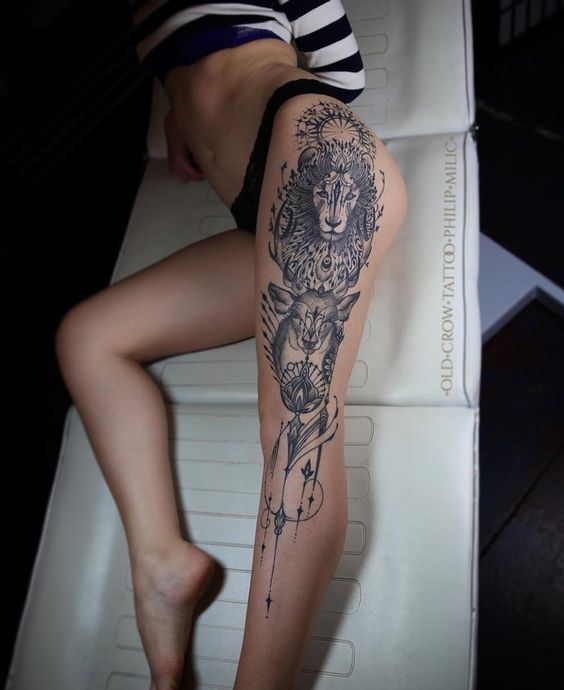 Contemporary Lion Thigh Tattoo Amazing Tattoo Ideas