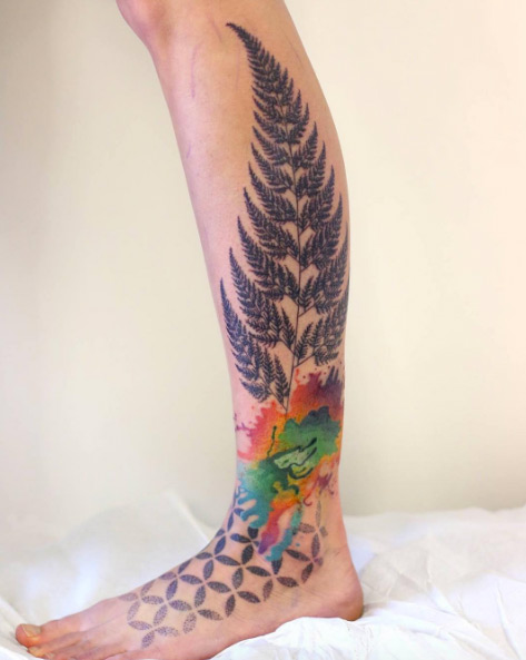 Creative Fern Leg Tattoo