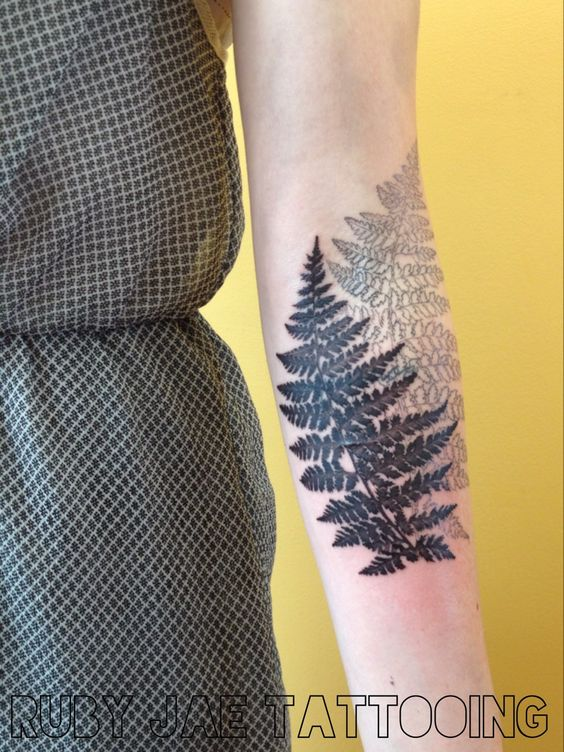 Doubled Fern Forearm Tattoo