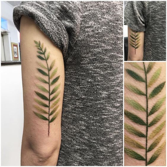 Fern In Shades Of Green Arm Tattoo