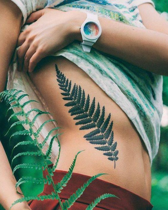 Gorgeous Fern Side Body Tattoo