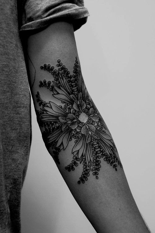 Kaleidoscopic Fern Forearm Tattoo