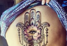 Lavish Hamsa Back Tattoo