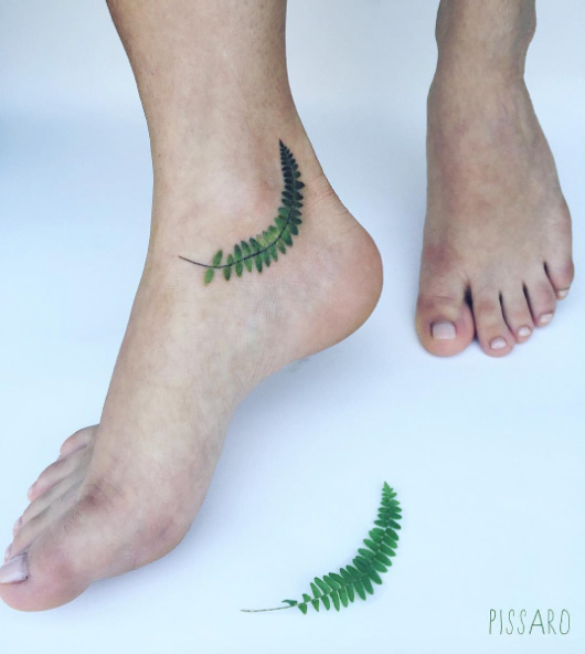 Lovely Bent Fern Ankle Tattoo
