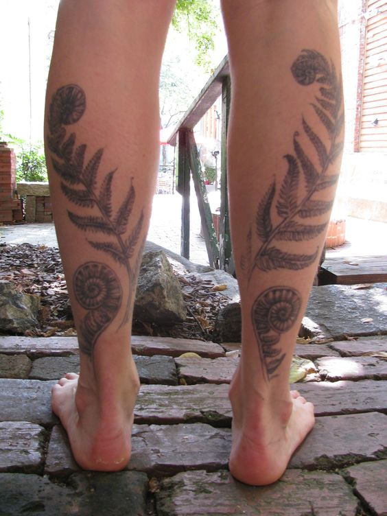 Matching Dotwork Fern Leg Tattoos