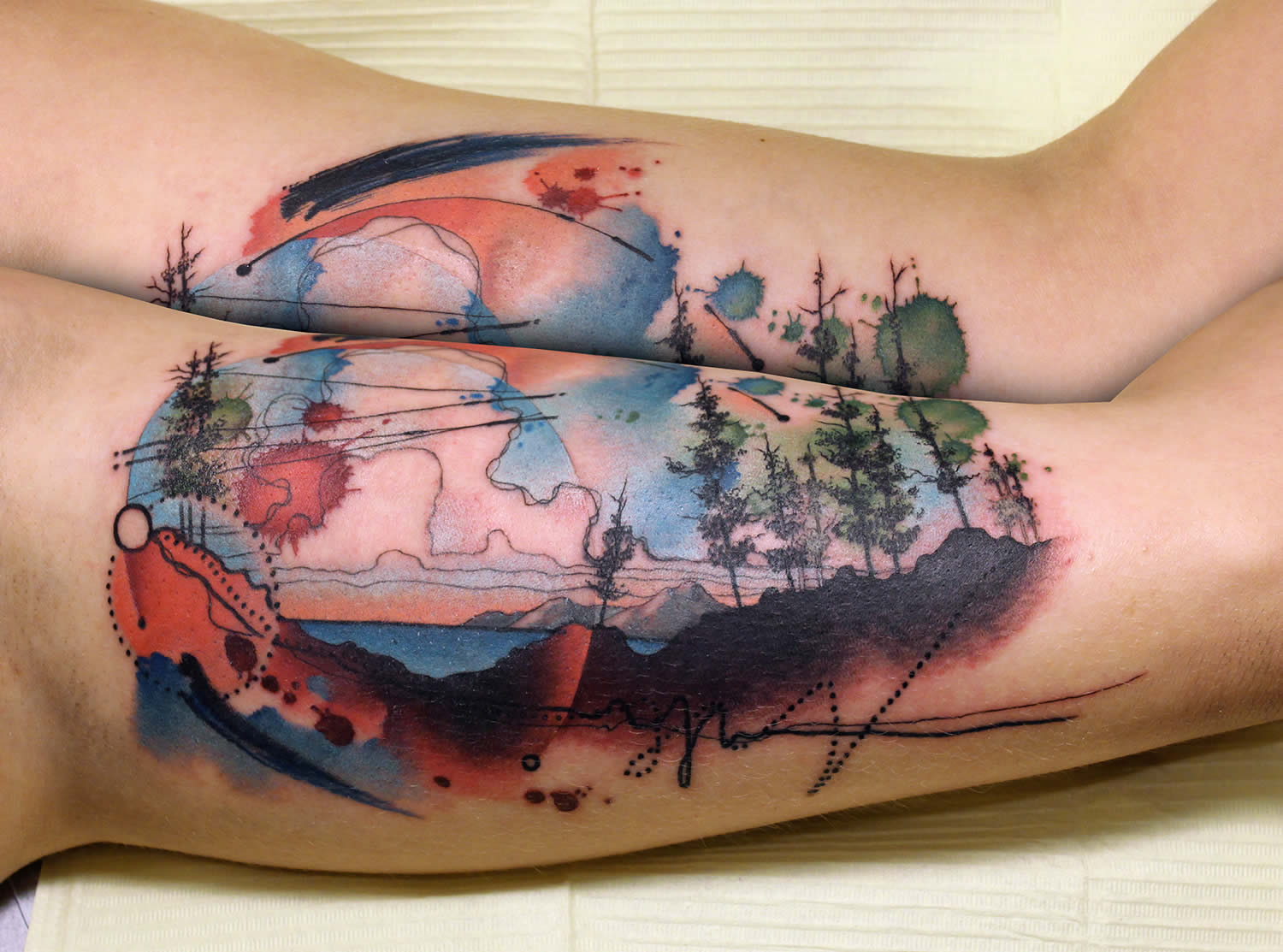 32 rich watercolor landscape tattoo designs amazing for Top 10 tattoo shops in nyc