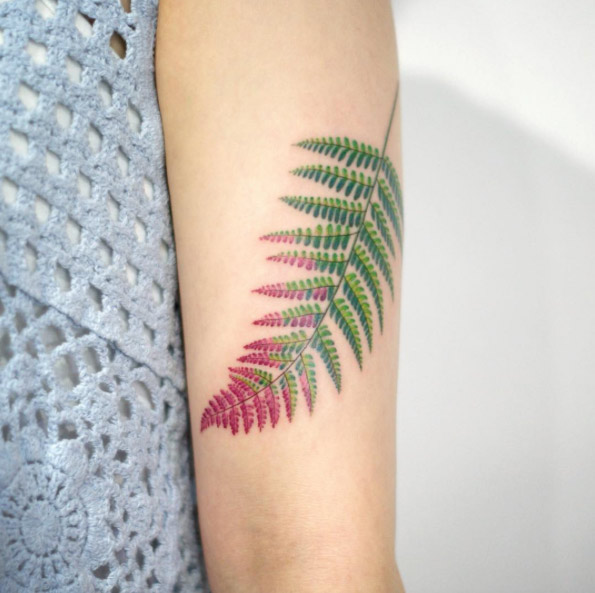 Red Tipped Fern Arm Tattoo