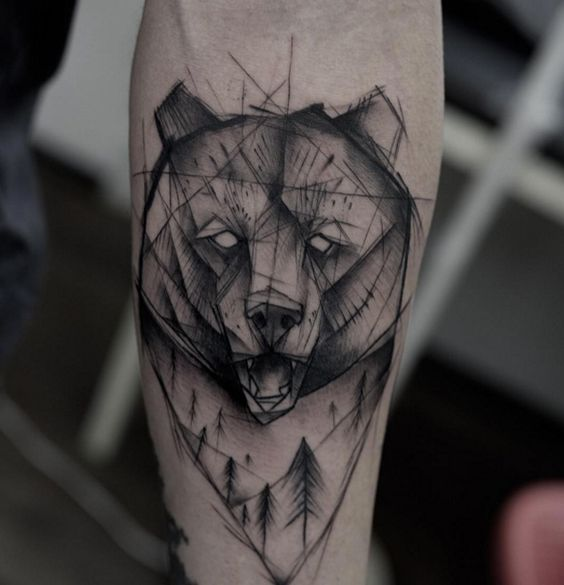 32 Geometric Bear Tattoo Designs | Amazing Tattoo Ideas
