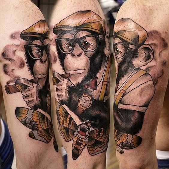 32 adorable monkey tattoo designs amazing tattoo ideas. Black Bedroom Furniture Sets. Home Design Ideas