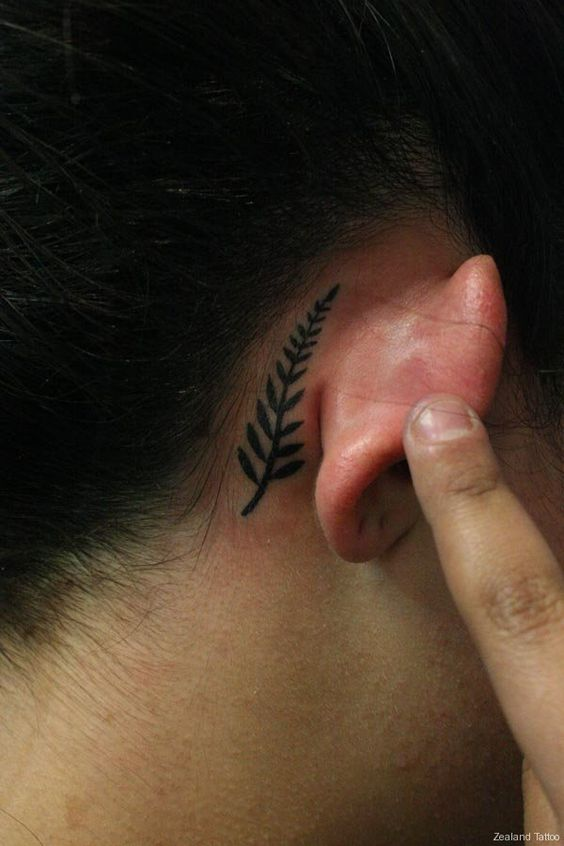 Subtle Fern Behind The Ear Tattoo