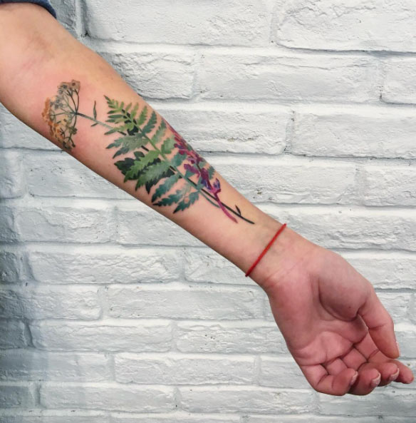 Watercolor Fern Forearm Tattoo