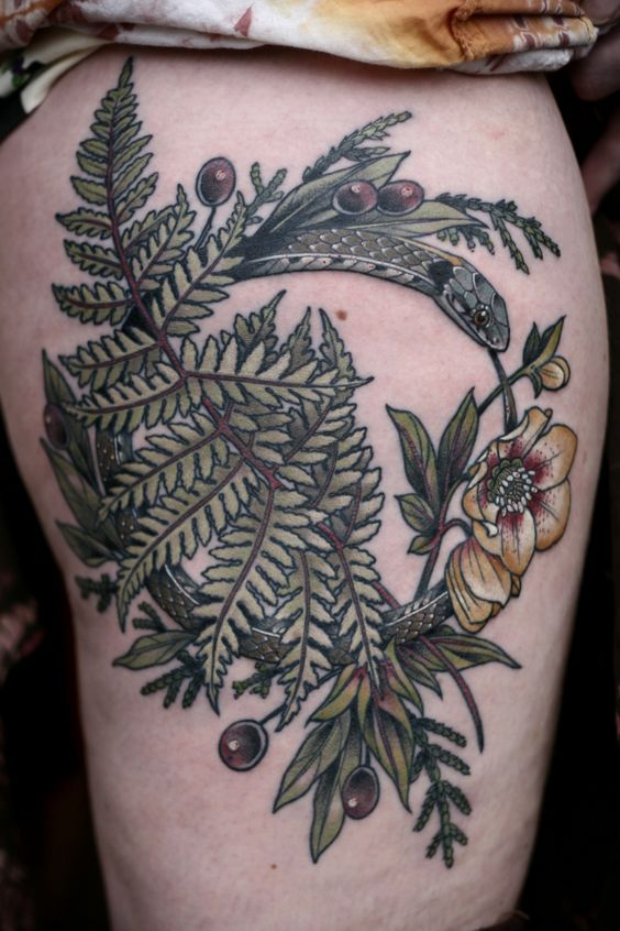 Wreathed Fern Thigh Tattoo