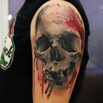 3D Red and Black Skull Arm Tattoo