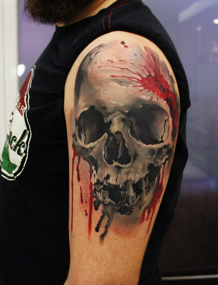 3d red and black skull arm tattoo amazing tattoo ideas for Top 10 tattoo shops in nyc
