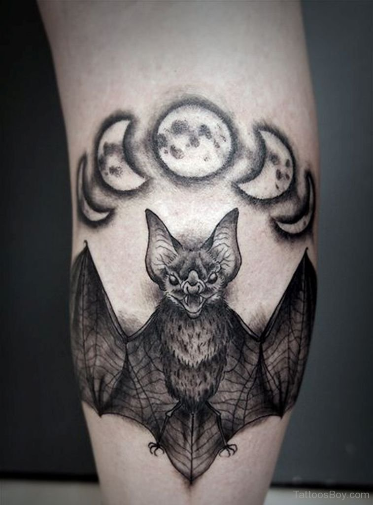 Bat And Phases Of The Moon Calf Tattoo Amazing Tattoo Ideas