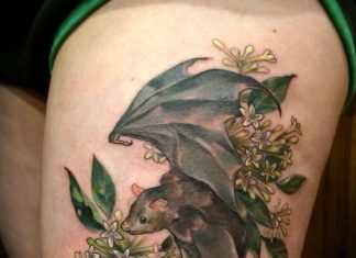 Bat in Jasmines Thigh Tattoo