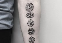 Black Chakras Forearm Tattoo