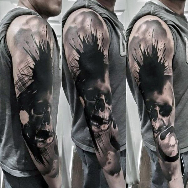 Black Watercolor Splash Skull Full Sleeve Tattoo Amazing Tattoo Ideas