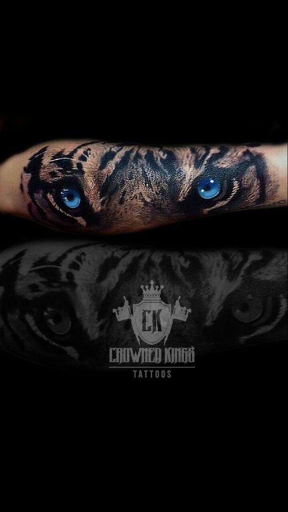 Blue Eyed Tiger Forearm Tattoo