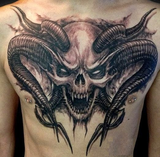 Demon skull chest tattoo amazing tattoo ideas for Top 10 tattoo shops in nyc