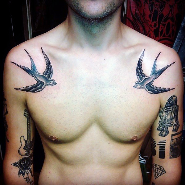Diving Sparrows Shoulder Tattoo