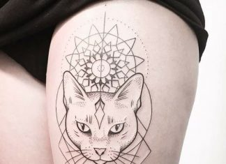 Dotwork Flower on Cat Thigh Tattoo