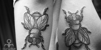 Dotwork Fly Forearm Tattoo