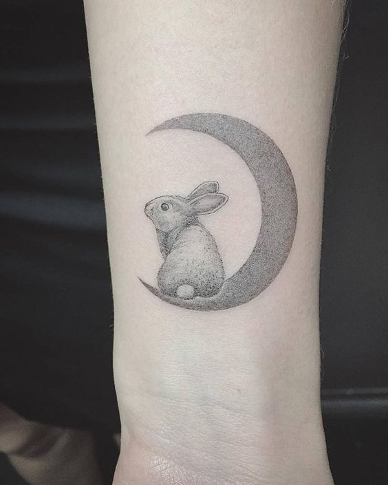 Dotwork Rabbit On The Crescent Moon Forearm Tattoo