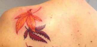 Falling Leaves Back Tattoo
