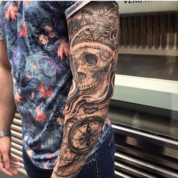 King Skull Full Sleeve Tattoo | Amazing Tattoo Ideas