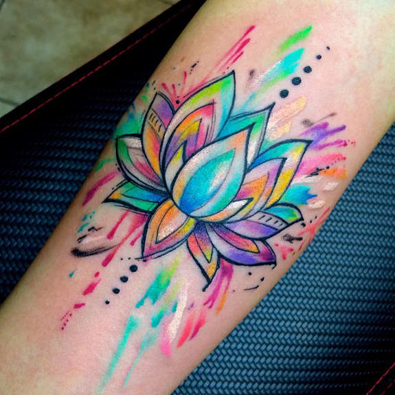 Lotus with Streaks of Colors Forearm Tattoo