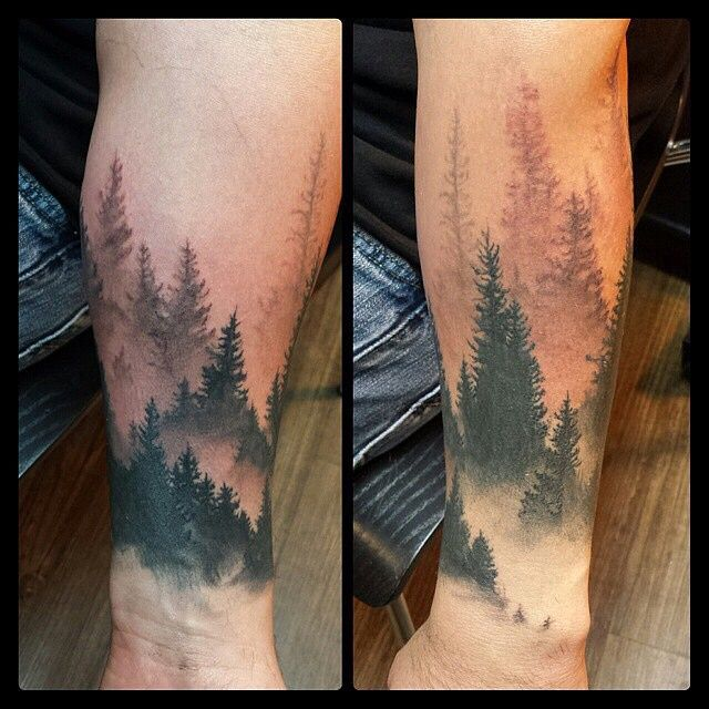 Misty Forest Half Sleeve Tattoo