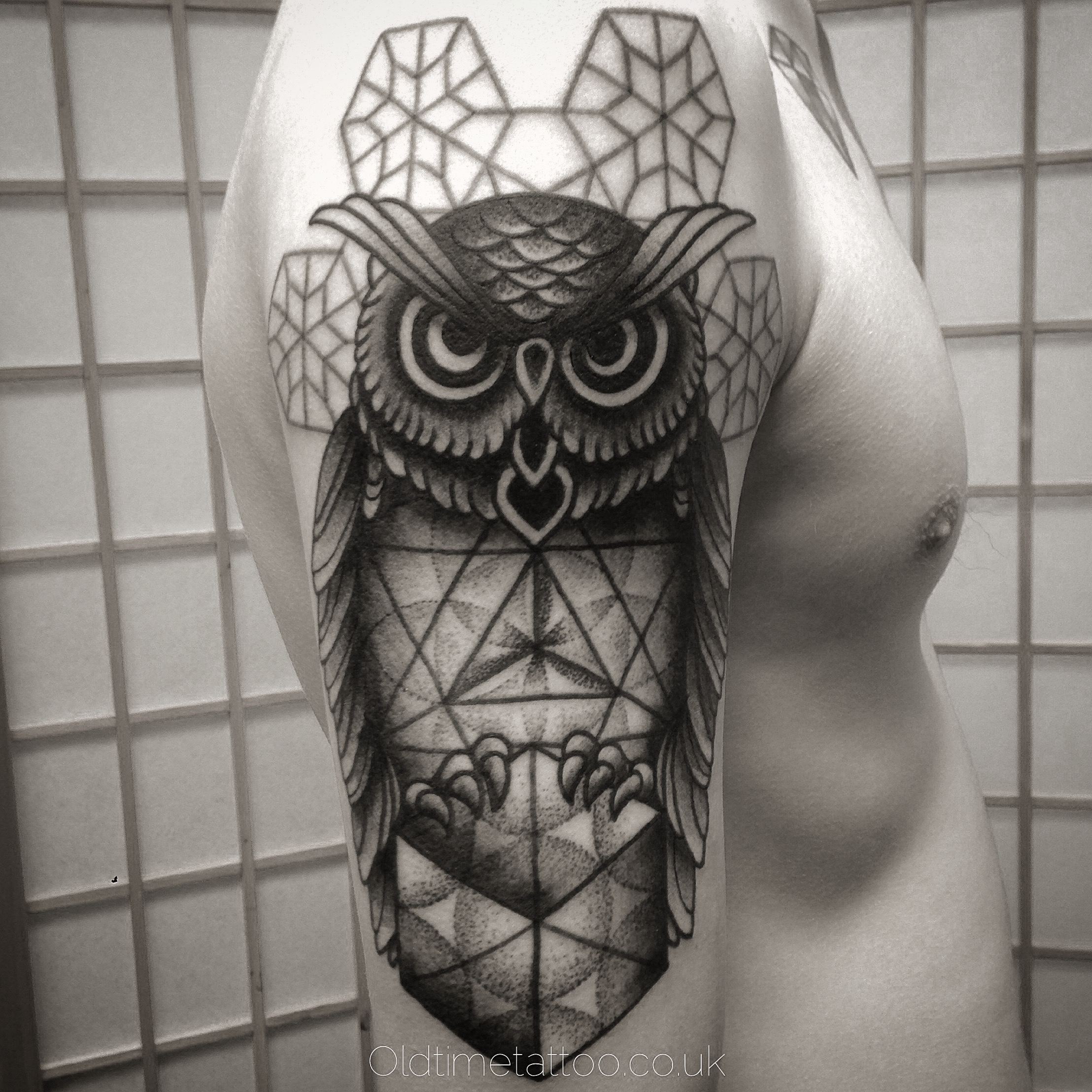 Owl on Cube Half Sleeve Tattoo | Amazing Tattoo Ideas