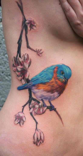 Perched Sparrow Side Tattoo