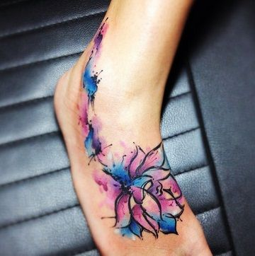 Purple and Blue Lotus Foot Tattoo