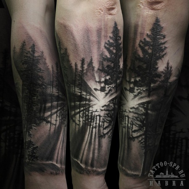 30 glorious forest tattoo designs amazing tattoo ideas. Black Bedroom Furniture Sets. Home Design Ideas