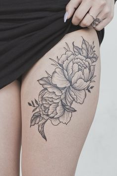 Roses Thigh Tattoo