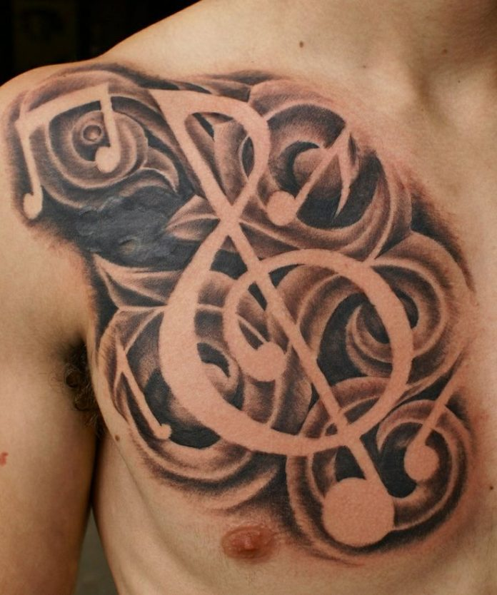 Shaded Musical Note Chest Tattoo