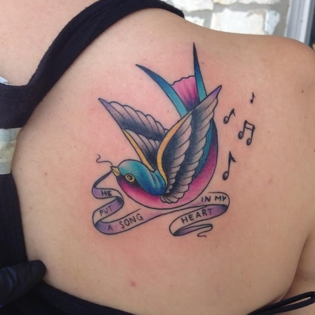 Singing Sparrow Shoulder Tattoo